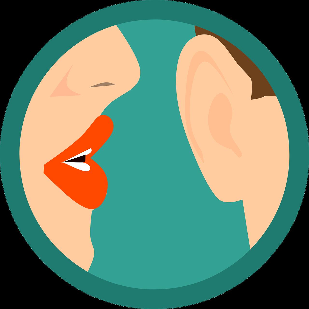gossip, whisper, ear, talk, chatter, faked, spirituality